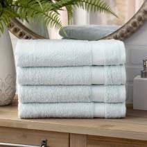 Welhome Basic 100% Cotton Towel (Sky Blue)- Set of 4 Bath Towels - Quick Dry - Absorbent - Soft - 434 GSM - Machine Washable
