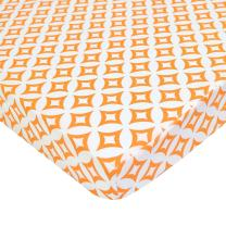 TL Care 100% Natural Cotton Percale Fitted Mini Crib Sheet, Orange Tweedle Tee Tile, Soft Breathable, for Boys and Girls