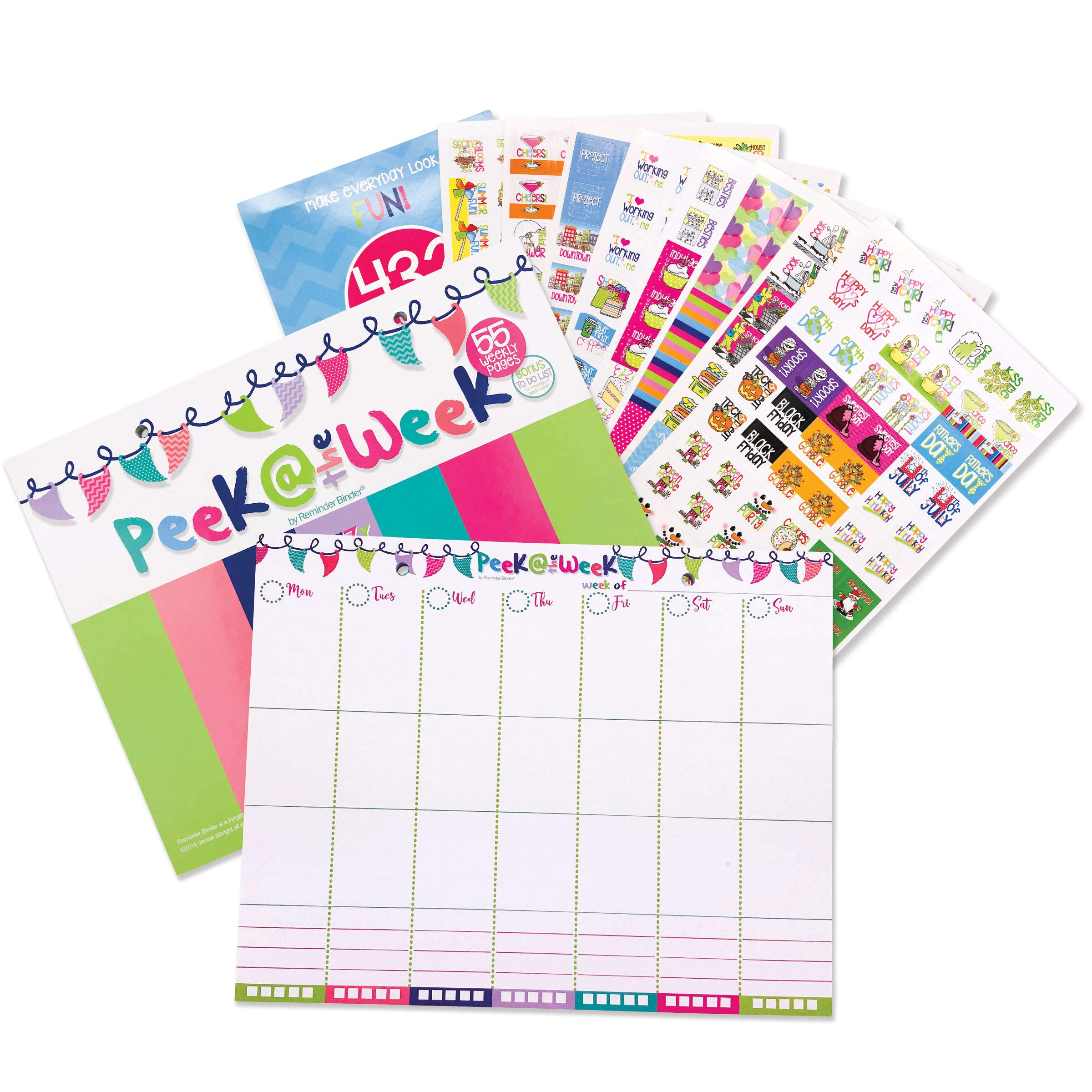 """Weekly Planner Pad Bundle + Event Stickers Variety Sets (Total of 432 Stickers) Daily Vertical Layout, Tear Off to Do Lists, 8""""x10"""" 55-Pages Best for 2018 Planning & Organization (Bundle of 2 Items)"""
