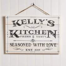 Artblox Personalized Wooden Kitchen Wall Decor | Farmhouse Last Name Signs for Home | Family Sign | Housewarming Gifts | Wedding Gift - (13x9) - White