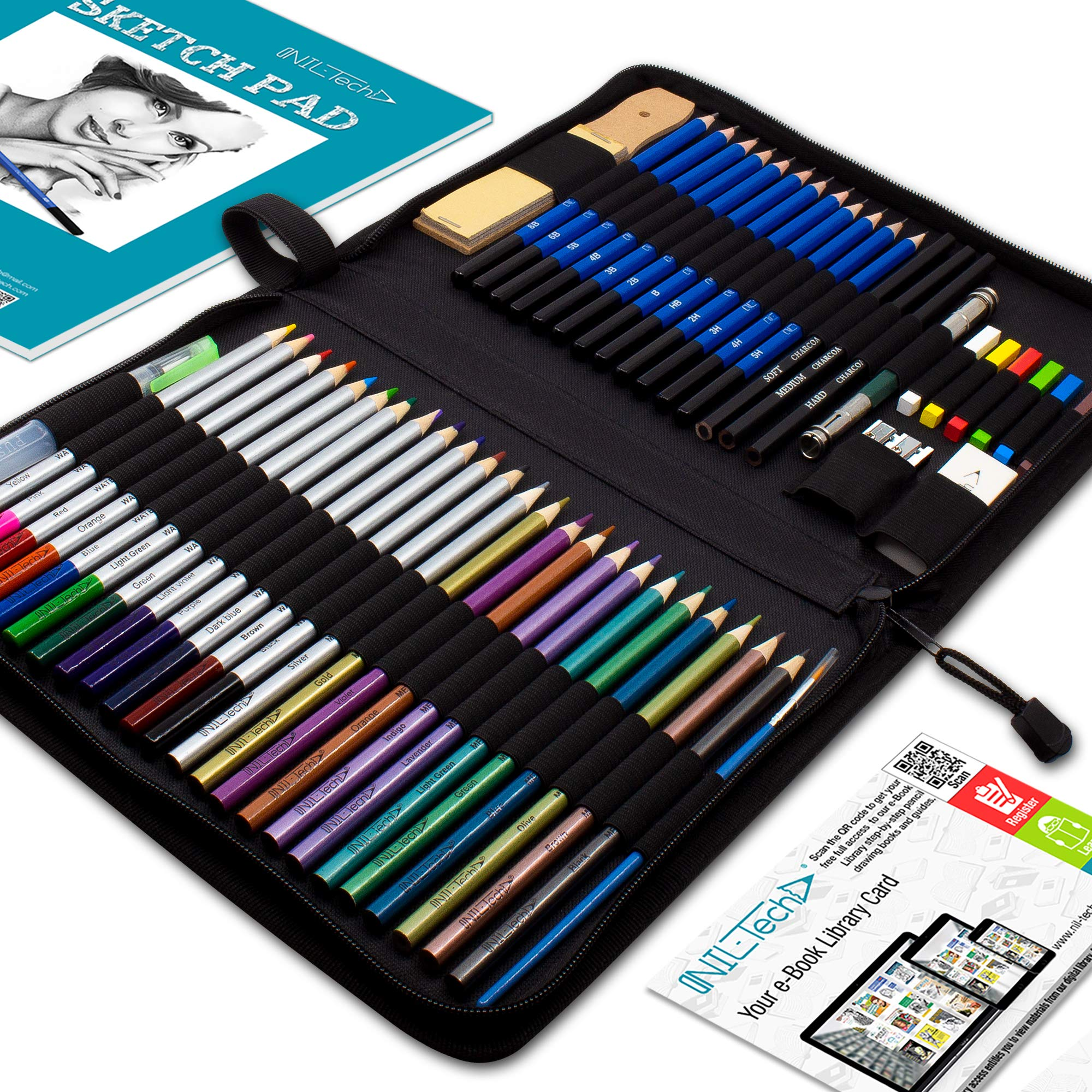 Drawing Watercolor Pencils Art Supplies – 53 Coloring and Sketching Art Set – Each Art Supply Includes Bonus Sketch Book and Digital Library Drawing Tutorials - Pencil Pouch, Graphite Charcoal, Eraser