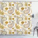 """Ambesonne Sunflower Shower Curtain, Floral Pattern with Sunflowers and Paisley Vintage Boho, Cloth Fabric Bathroom Decor Set with Hooks, 75"""" Long, Orange Yellow"""