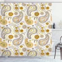 "Ambesonne Sunflower Shower Curtain, Floral Pattern with Sunflowers and Paisley Vintage Boho, Cloth Fabric Bathroom Decor Set with Hooks, 75"" Long, Orange Yellow"