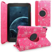 Fire HD 10 2015 Case, Cellularvilla Premium Pu Leather 360 Degree Rotating Cover Swivel Stand Protective Case for Amazon Kindle Fire HD 10 inch Tablet 5th Generation 2015 Release (Pink Glitter)