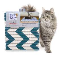 Fresh Kitty Durable XL Jumbo Foam Litter Mat – Phthalate and BPA Free, Water Resistant, Traps Litter from Box, Scatter Control, Easy Clean Mats – Chevron, Blue/White Chevron (9035)