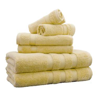 Weavely Towels Butter Yellow Bath Towel Set Of 6 Piece 100 Cotton Zero Twist Soft Luxurious And Highly Absorbent Hotel Premium Spa Quality Towels 600 Gsm 2xbath Towels 2xhand Towels 2xwash Cloths