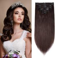 S-noilite Double Weft Clip in Human Hair Extensions Thick 22inch 160g 8 Pieces 18 Clips Full Head Thick Soft Straight Clip on Extensions Human Hair Highlighted Hair for Pretty #02 Dark Brown