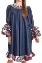 Sakkas DP17167 - Folami Chambray and Ankara Wax Dutch Print Muumuu Dress Relax Fit - 2296 Red/Turq-Ornate - OS