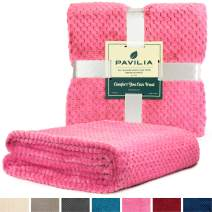 PAVILIA Premium Flannel Fleece Throw Blanket for Sofa Couch | Pink Waffle Textured Soft Fuzzy Throw | Warm Cozy Microfiber | Lightweight, All Season Use | 50 x 60 Inches