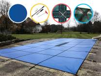 Water Warden Safety Pool Cover For 16' X 32' in Ground Pool, Blue Mesh, Center End Step