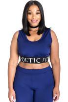 Poetic Justice Plus Size Curvy Women's Blue Activewear Sports Bra Mesh V-Back