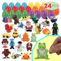 JOYIN 24 pc Prefilled Easter Eggs Filled with Wind-Up Toys for Easter Basket Stuffers, Easter Eggs Hunt, Easter Theme Party Favors, Classroom Prize Supplies