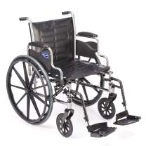 """Invacare Tracer EX2 Wheelchair, with Desk Length Arms and T93HCP Hemi Footrests with Heel Loops, 18"""" Seat Width"""