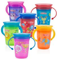 Nuby 1pk No Spill 2-Handle 360 Degree Printed Wonder Cup - Colors May Vary