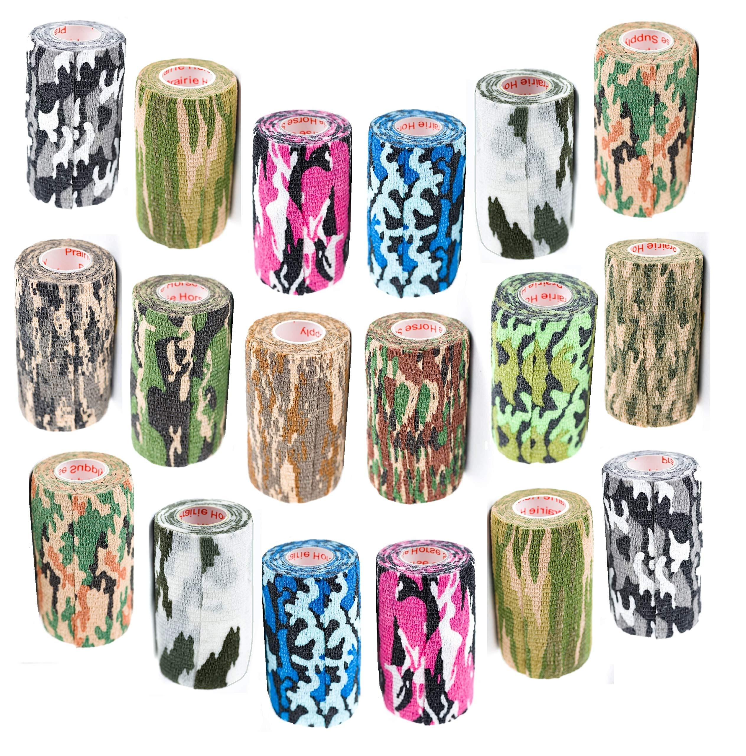 Vet Wrap Tape Bulk (Assorted and Camouflage Colors) (6, 12, 18, or 24 Pack) (2, 3, or 4 Inches wide) Vet Rap Medical First Aid Tape Self Adhesive Adherent for Ankle Wrist Sprains and Swelling