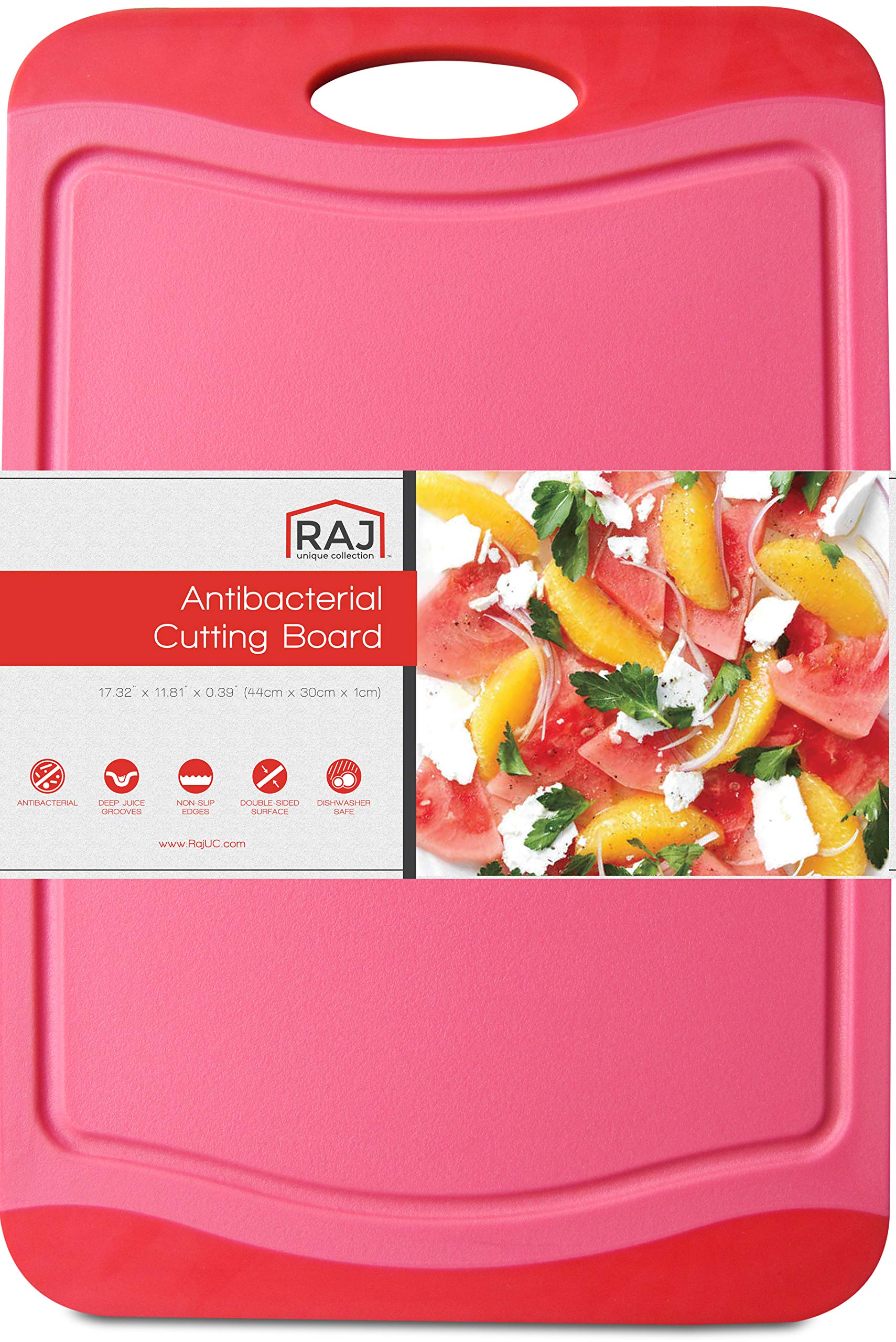 """Raj Plastic Cutting Board Reversible Cutting board, Dishwasher Safe, Chopping Boards, Juice Groove, Large Handle, Non-Slip, BPA Free (Extra Large (17.4"""" x 11.81""""), Crimson Red)"""