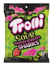 Trolli Sour Watermelon Sharks Gummy Candy, 4.25 Ounce Peg Bag (Pack of 12)