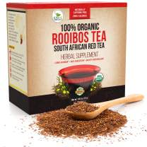 Organic Rooibos Tea Bags - Caffeine Free South African Red Tea Detox - Herbal Antioxidant Drink from Africa - Aids Digestion and Boosts Metabolism - 80 Tea Bags