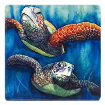 Sea Turtle Buddies Wooden Coaster - Watercolor Art by Colleen Nash Becht