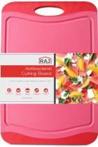 "Raj Plastic Cutting Board Reversible Cutting board, Dishwasher Safe, Chopping Boards, Juice Groove, Large Handle, Non-Slip, BPA Free - Medium (14.37"" x 9.84""), Crimson Red"
