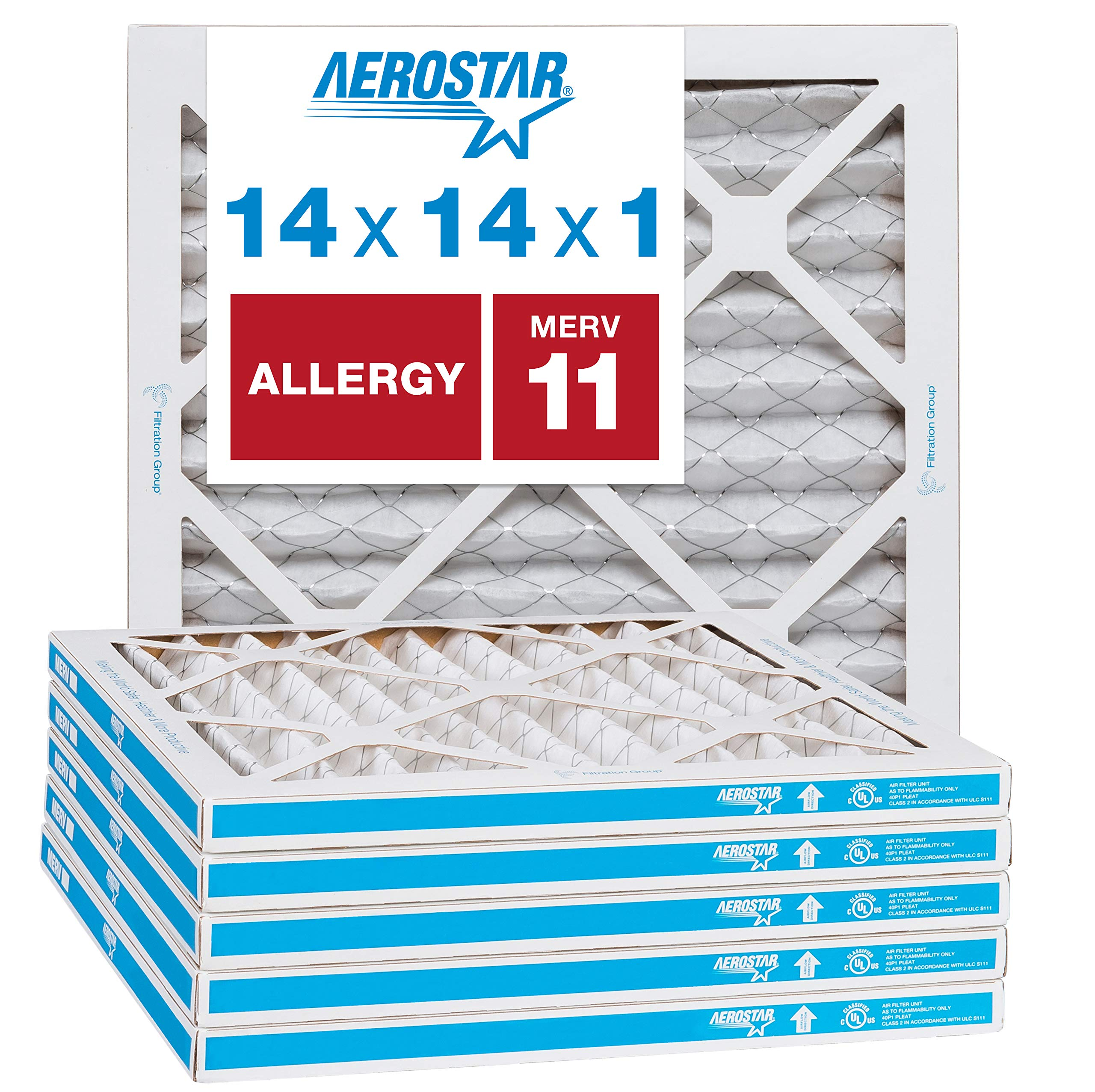 """Aerostar Allergen & Pet Dander 14x14x1 MERV 11 Pleated Air Filter, Made in the USA, (Actual Size: 13 3/4""""x13 3/4""""x3/4""""), 6-Pack"""