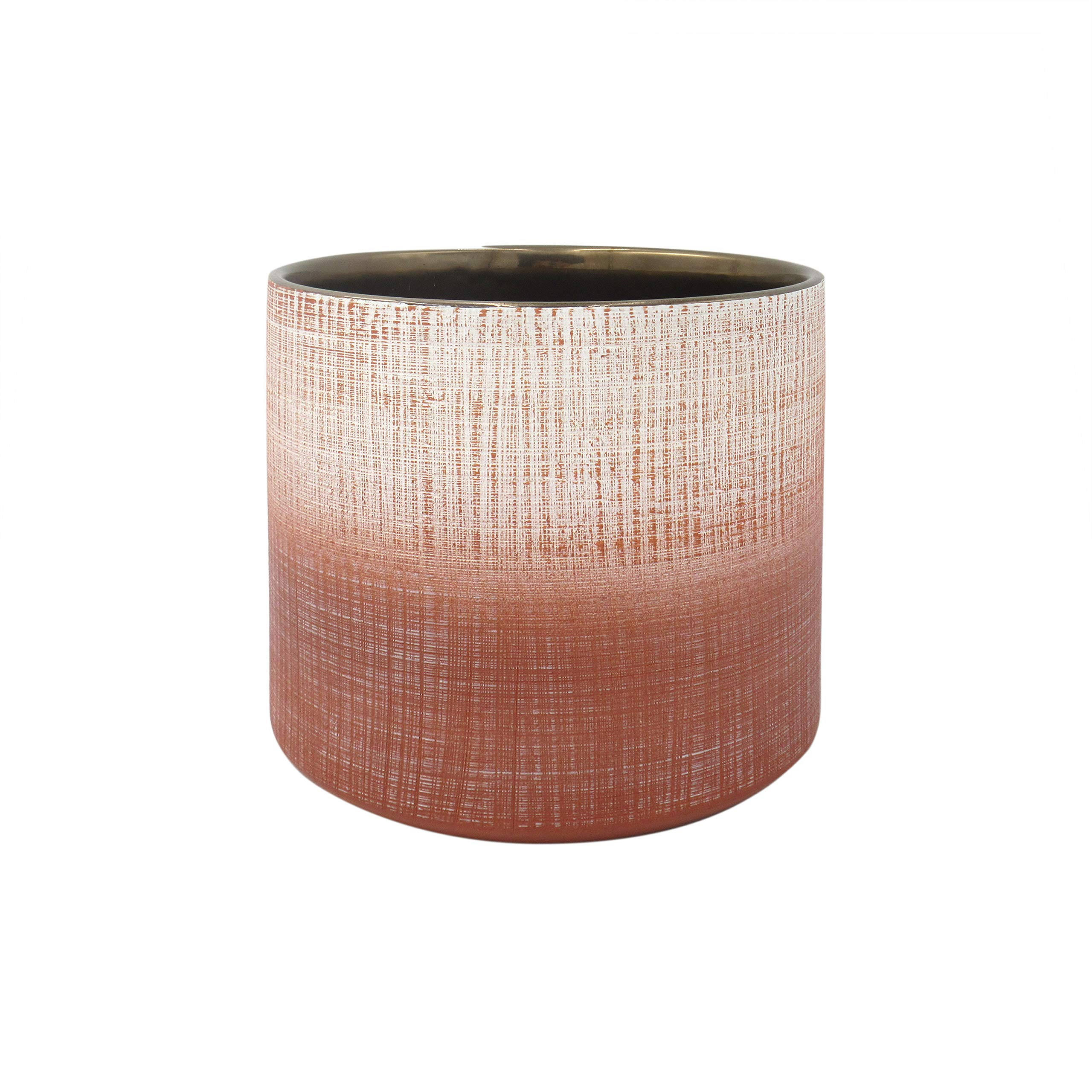 "Amazon Brand – Rivet Rustic Stoneware Crosshatch Indoor Outdoor Flower Plant Pot, 6.25""H, Coral"