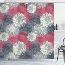 "Ambesonne Dahlia Flower Shower Curtain, Hand Drawn Repeating Big and Small Flowers Motif with Color Element Effects, Cloth Fabric Bathroom Decor Set with Hooks, 84"" Long Extra, Grey Fuchsia"