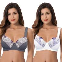 Curve Muse Women Plus Size Minimizer Underwire Unlined Bra with Embroidery Lace