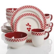 Gibson Home General Store Cherry Diner 16 Piece Dinnerware Set, Red