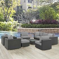 Modway Sojourn Wicker Rattan 10 Piece Outdoor Patio Sunbrella Sectional Set in Canvas Gray