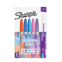Sharpie Electro Pop Permanent Markers, Fine Point, Assorted Colors, 5 Count