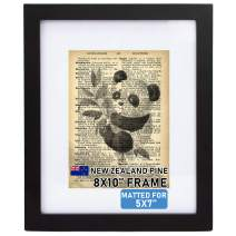 """Beyond Your Thoughts Wood + Real Glass (Hang/Stand) 8""""X10"""" Black Picture Photo Frame with Matted for 5""""X7"""" Photo for Wall and Table Top (1 Pack)"""
