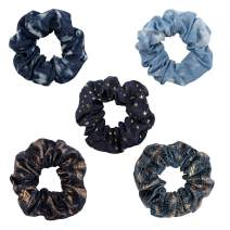YOHAMA 5 pcs Denim Hair Scrunchies for Girls Starry Sky Hair Accessories Jeans Blue Hair Ties for Women Rock Theme Hair Scrunchy Ponytail Holder Decoration Bun, As Gifts.