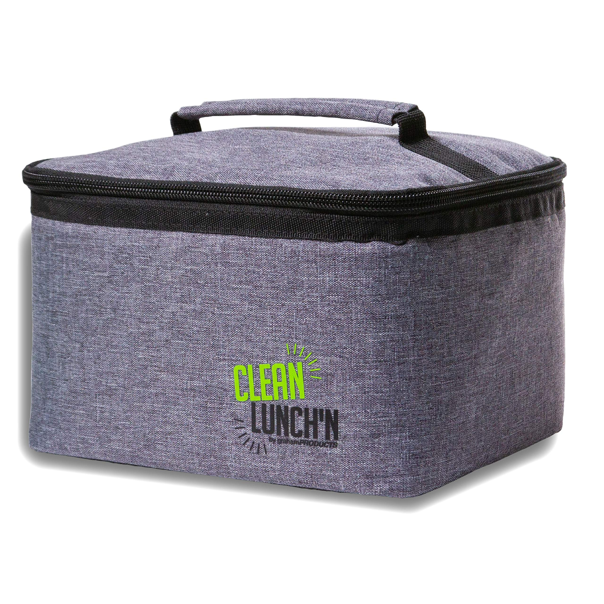 Clean LunchN Insulated Lunch Bag - Mens and Womens Large Portable Thermal Heater and Cooler Tote Box for Kids and Adults, Stainless Steel Bento Containers, Healthy Snacks, Hot or Cold Food