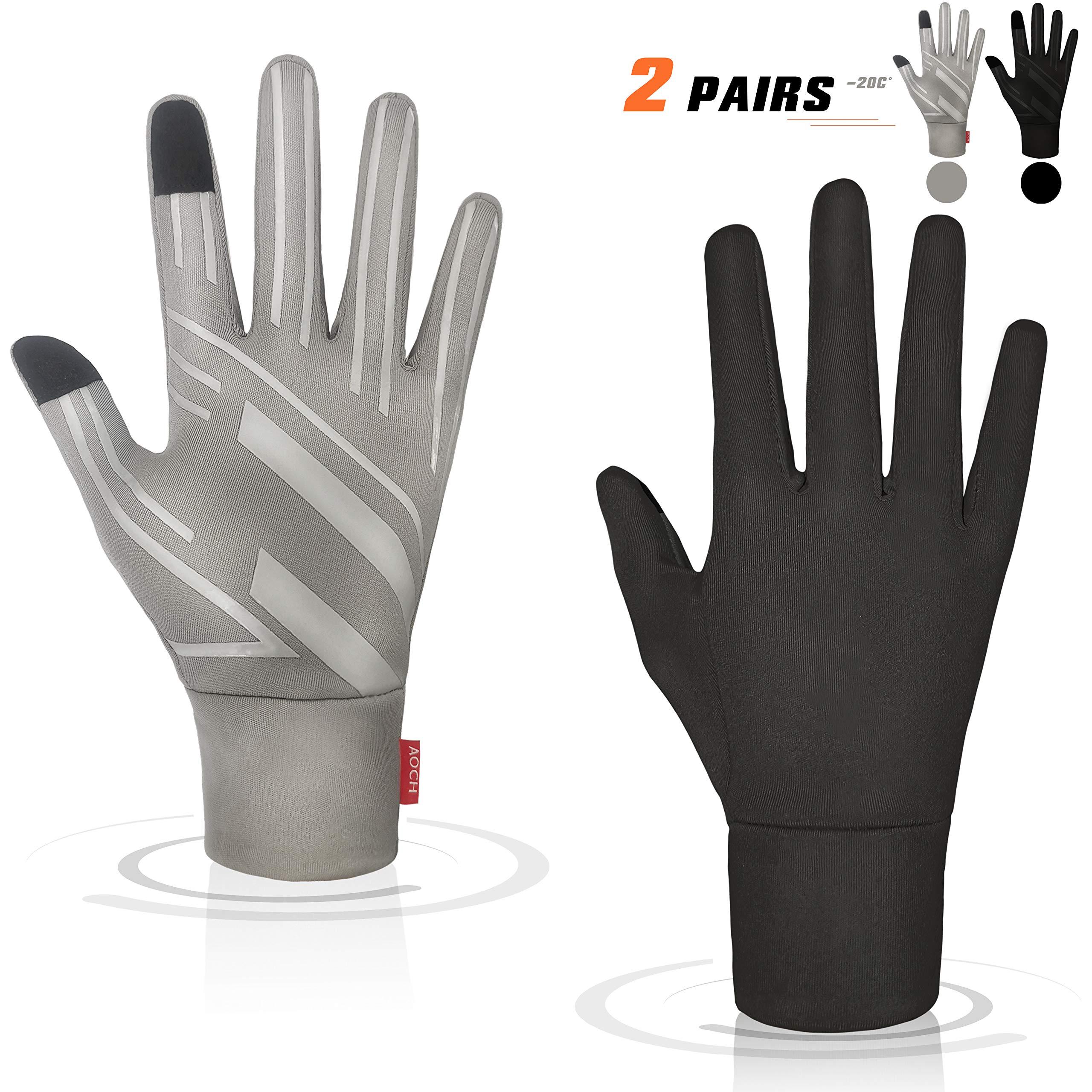 AOCH Running Thermal Gloves - Touch Screen Gloves Lightweight Warm Winter Gloves - 2 Pairs