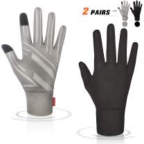 AOCH Running Thermal Gloves - Touch Screen Gloves Lightweight Warm Winter Gloves - 2 Pairs