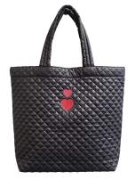 ClaraNY Love Love heart Embroidery Comfortable light weight quilted market Tote water repellent Black