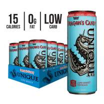 Unique Life Boost Keto Friendly Functional Beverage | Healthy Caffeine Drink | Natural Green Tea Reishi Mushroom Extract Low Calorie | Dragon's Candy, 12oz Cans 12 Pack