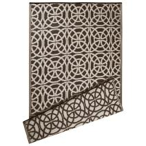 DII Contemporary Indoor/Outdoor Lightweight Reversible Fade Resistant Area Rug, Great For Patio, Deck, Backyard, Picnic, Beach, Camping, & BBQ, 4 x 6', Dark Brown Infinity Circle