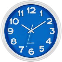 Bernhard Products Blue Wall Clock 12.5 Inch Silent Non-Ticking Modern Stylish Quartz Clocks for Home Kitchen Office Bedroom Boy's Room Nursery Kids School Classroom Battery Operated Easy to Read