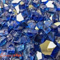 "Enhance A Fire! 1/2"" Reflective Crushed Tempered Fire Glass (15, Parade Blue)"