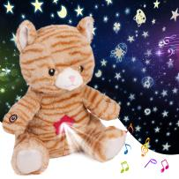 Cuteoy Kitty Star Projector Plush Cat Night Light Stuffed Animals Musical Soother Toys for Kids Lullabies Sounds Sleep Aid Gifts on Birthday Christmas, 11''