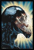 """Trends International Marvel Comics - Venom - Darkness, 22.375"""" x 34"""", Black Framed Version"""