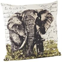 SARO LIFESTYLE 3131 Elephant Square Pillow, 18-Inch, Natural