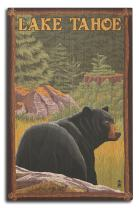 Lantern Press Lake Tahoe, California - Bear in Forest (10x15 Wood Wall Sign, Wall Decor Ready to Hang)