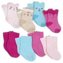 Gerber Baby Girls' 8-Pack Wiggle Proof Jersey Crew Socks