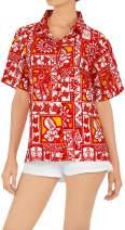 LA LEELA Women's Plus Size Hawaiian Shirt Short Sleeve Blouse Tops Shirt Printed