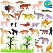THE TWIDDLERS 96 Pcs Mini Toy Animals for Kids   Realistic Vinyl Plastic Zoo Animal Figure for Kids Birthday   Goody Bag Filler   Prize & Rewars Indoor Activity Hours Play Entertainment for Kids