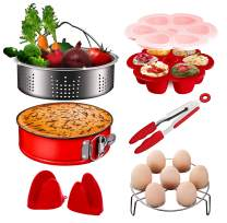 Pressure Cooker Accessories, Chekue InstaPot Accessory Includes Steamer Basket, Springform Cheesecake Pan, Egg Rack, Egg Bites Molds, Tongs and Mitts, Compatible with Instant Pot Accessories 6 8 Qt