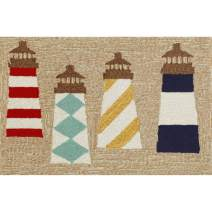 Liora Manne 1401/12 LIGHTHOUSES NATURAL Frontporch Indoor/Outdoor Rug, 2' x 3'